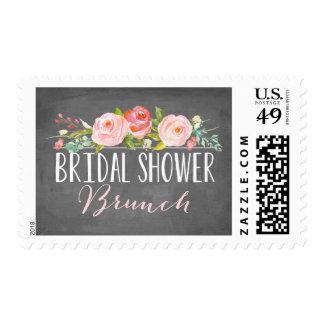 Rose Banner Brunch Bridal Shower Stamp