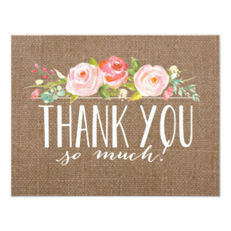 Rose Banner Burlap   Baby Shower Thank You Card