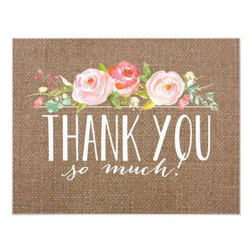 rose banner burlap baby shower thank you card zazzle