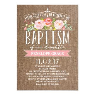 Rose Banner Burlap | Baptism Invitation