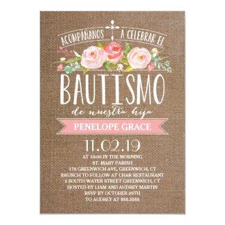 Rose Banner Burlap | Spanish Bautismo Invitation
