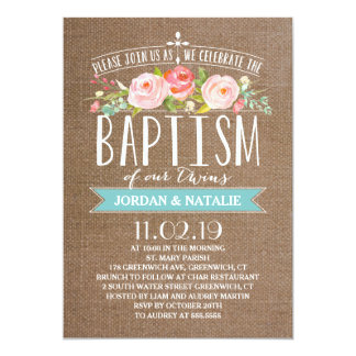 Rose Banner Burlap | Twins Baptism Invitation
