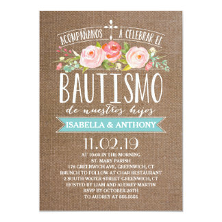 Rose Banner Burlap Twins | Spanish Bautismo Card