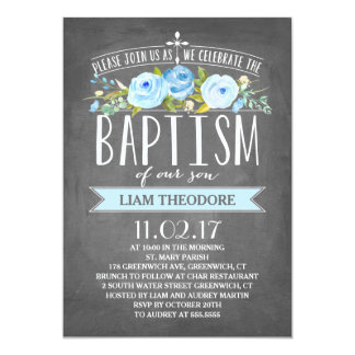 Rose Banner Chalkboard | Blue Baptism Invitation