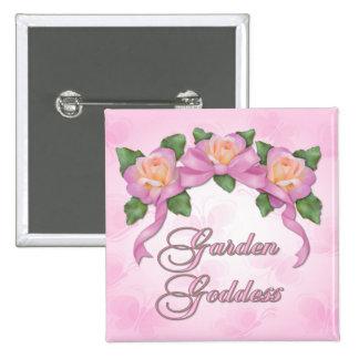 Rose Banner Garden Goddess Pinback Button