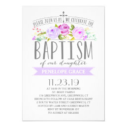 Rose Banner | Girl Baptism Invitation | Purple