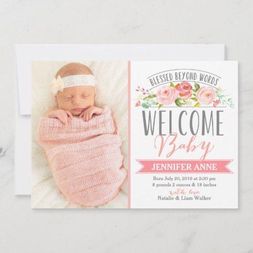 Rose Banner  Girl Birth Announcement