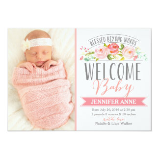 Rose Banner | Girl Birth Announcement