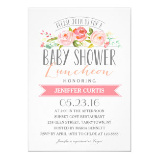 Rose Banner Luncheon   Baby Shower Card