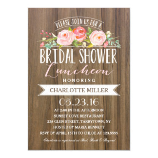 Rose Banner Luncheon | Bridal Shower Card