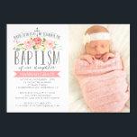 """Rose Banner Pink Baptism Invitation<br><div class=""""desc""""></div>"""