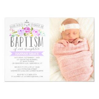 Rose Banner Purple Baptism Photo Invitation