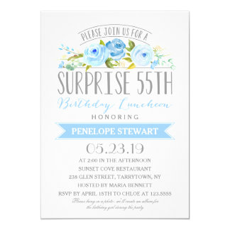 Rose Banner Surprise 55th Birthday Luncheon Card