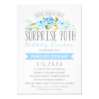 Rose Banner Surprise 90th Birthday Luncheon Card