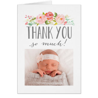 Rose Banner Thank You Card with Photo