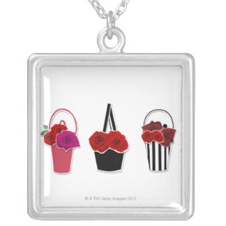 Rose Baskets Silver Plated Necklace