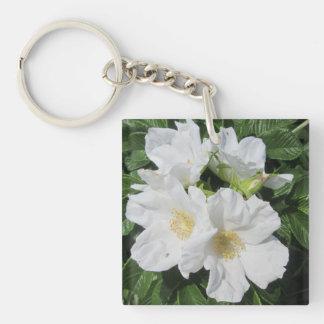 Rose Beach Plum White Keychain