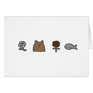 Rose-Bear-Rose-Fish Note Cards
