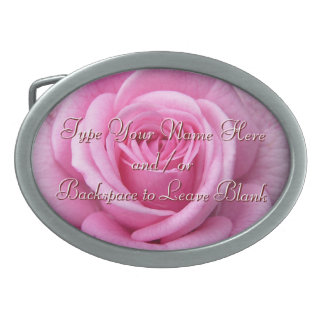 Rose Belt Buckle Personalize Pink Rose Buckle