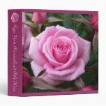 Rose Binder Personalized Pink Rose School Binder 3 Ring Binder
