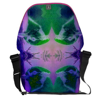Rose Birds, Abstract Violet Pink Cycle Courier Bags
