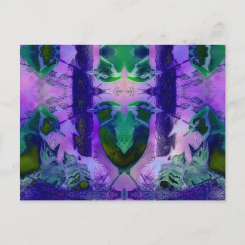 Rose Birds, Abstract Violet Pink Cycle Postcard