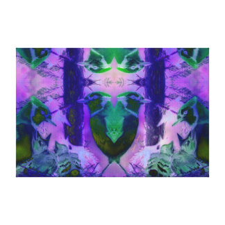 Rose Birds – Violet & Pink Cycle Canvas Print