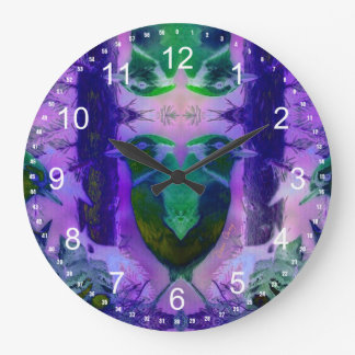 Rose Birds – Violet & Pink Cycle Round Clock