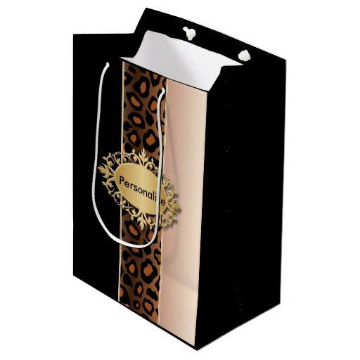 Rose, Black and Leopard Print Medium Gift Bag