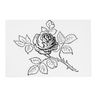 Rose-Black and White Laminated Placemat