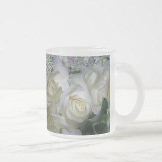 Rose_ blanco taza de café esmerilada