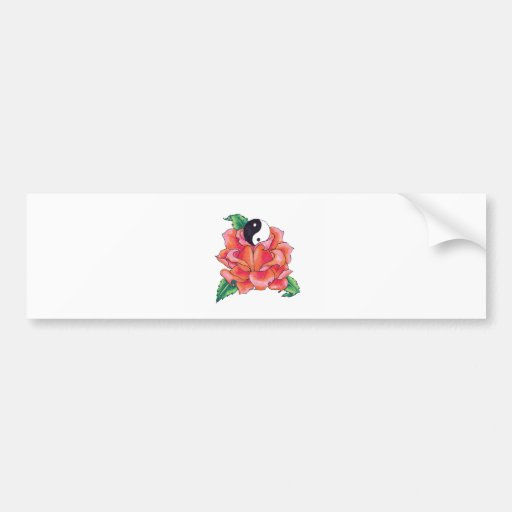 Rose Blossoming Ying Yang Bumper Sticker