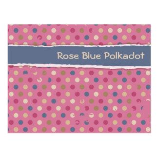 Rose Blue Polka Dot Postcard