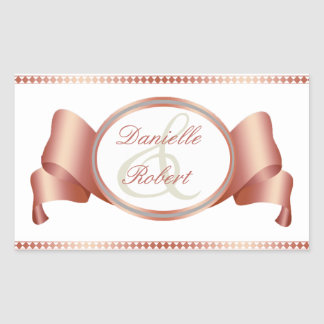 Rose & Blue Ribbon & Swirls Wedding Stickers