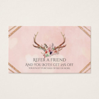 Rose Blush Pink Floral Antlers Glam Refer a Friend Business Card