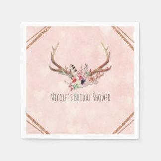 Rose Blush Pink Floral Deer Antlers Boho Chic Napkin