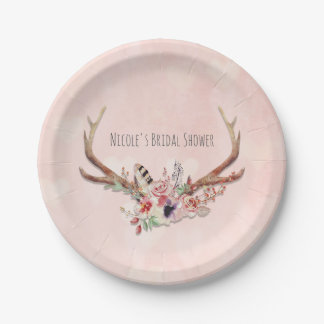 Rose Blush Pink Floral Deer Antlers Boho Chic Paper Plate