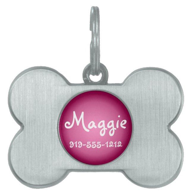 Rose Bone Shaped Customizable Name Dog Tag