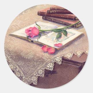 ROSE & BOOKS by SHARON SHARPE Classic Round Sticker