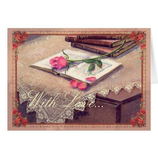 ROSE, BOOKS & FRAME by SHARON SHARPE Card