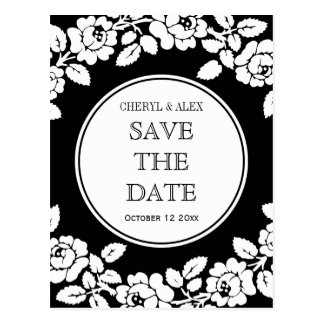 Rose border black white wedding Save the Date Postcard