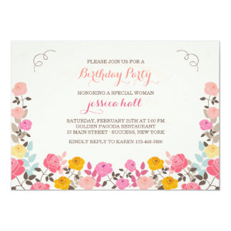 Rose Border Invitation