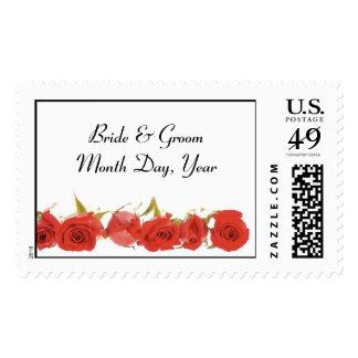 Rose Border Wedding Postage Stamp