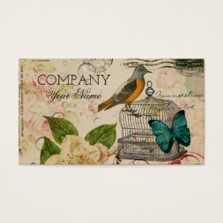 rose botanical birdcage french bird shabby chic business card