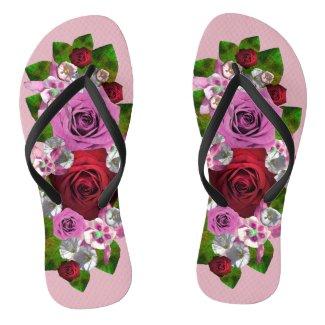 Rose Bouquet by Delynn Addams Flip Flops