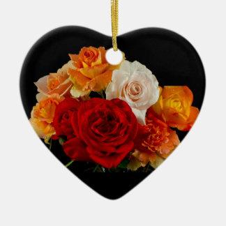 Rose Bouquet Ceramic Ornament