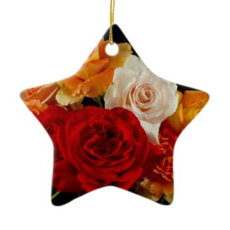 Rose Bouquet Christmas Tree Ornaments