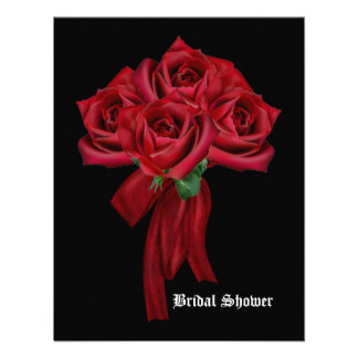Rose Bouquet Gothic Bridal Shower Personalized Invite