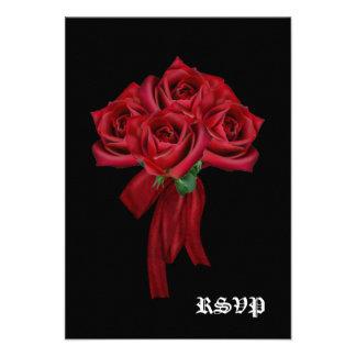 Rose Bouquet Gothic Wedding RSVP Personalized Invites