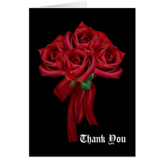 Rose Bouquet Gothic Wedding Thank You Card